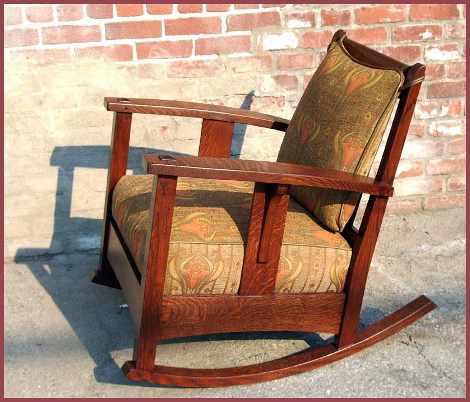 ... Oak Furniture - Limbert Ebon Oak Inlaid Rocker Accurate Replica