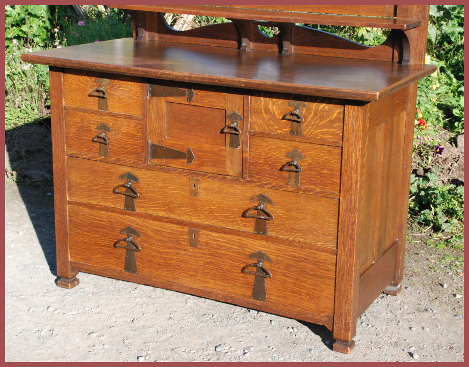Front view. - Voorhees Craftsman Mission Oak Furniture - Antique Arts And Crafts
