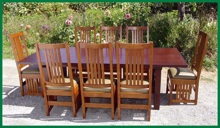 Set Of Eight Side Chairs Around Large Table Without Leaves Installed