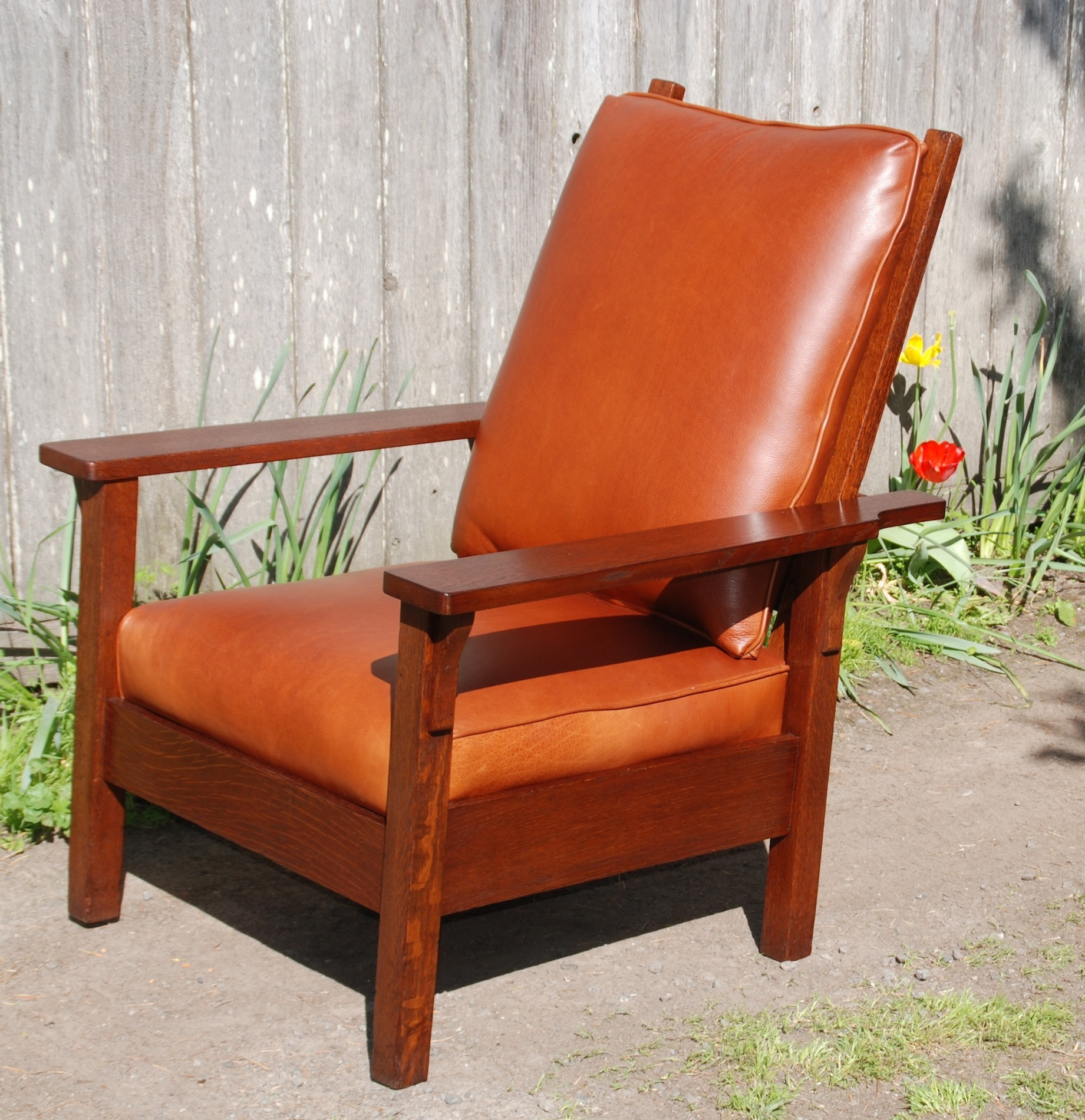 Morris chair cushions - Gustav Stickley Signature Red Decal 1905 To 1912 Located On The Inside Of The Rear Seat Stretcher