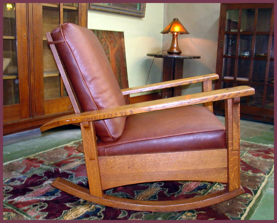 Side view of the reclining Limbert Morris Rocker, shown in the upright ...