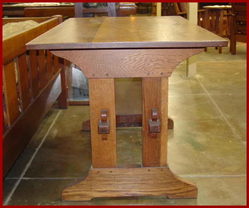 Side view showing the keyed through-tenons and the pegged mortise and ...