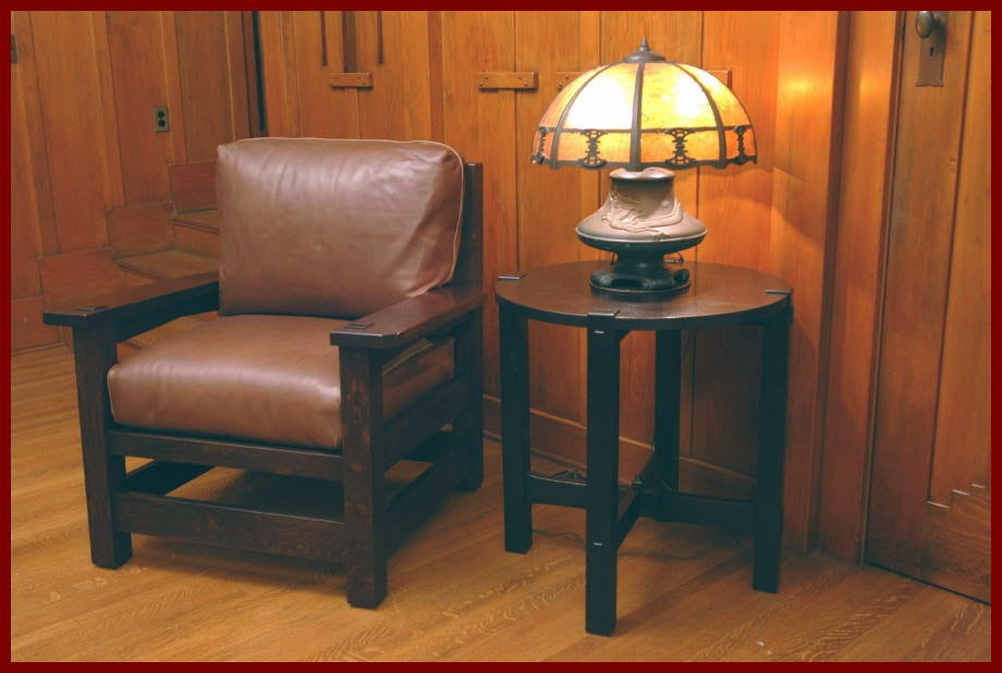 Shown With Our Accurate Replicas Of A Gustav Stickley Early Lamp Table And  Eastwood Chair,