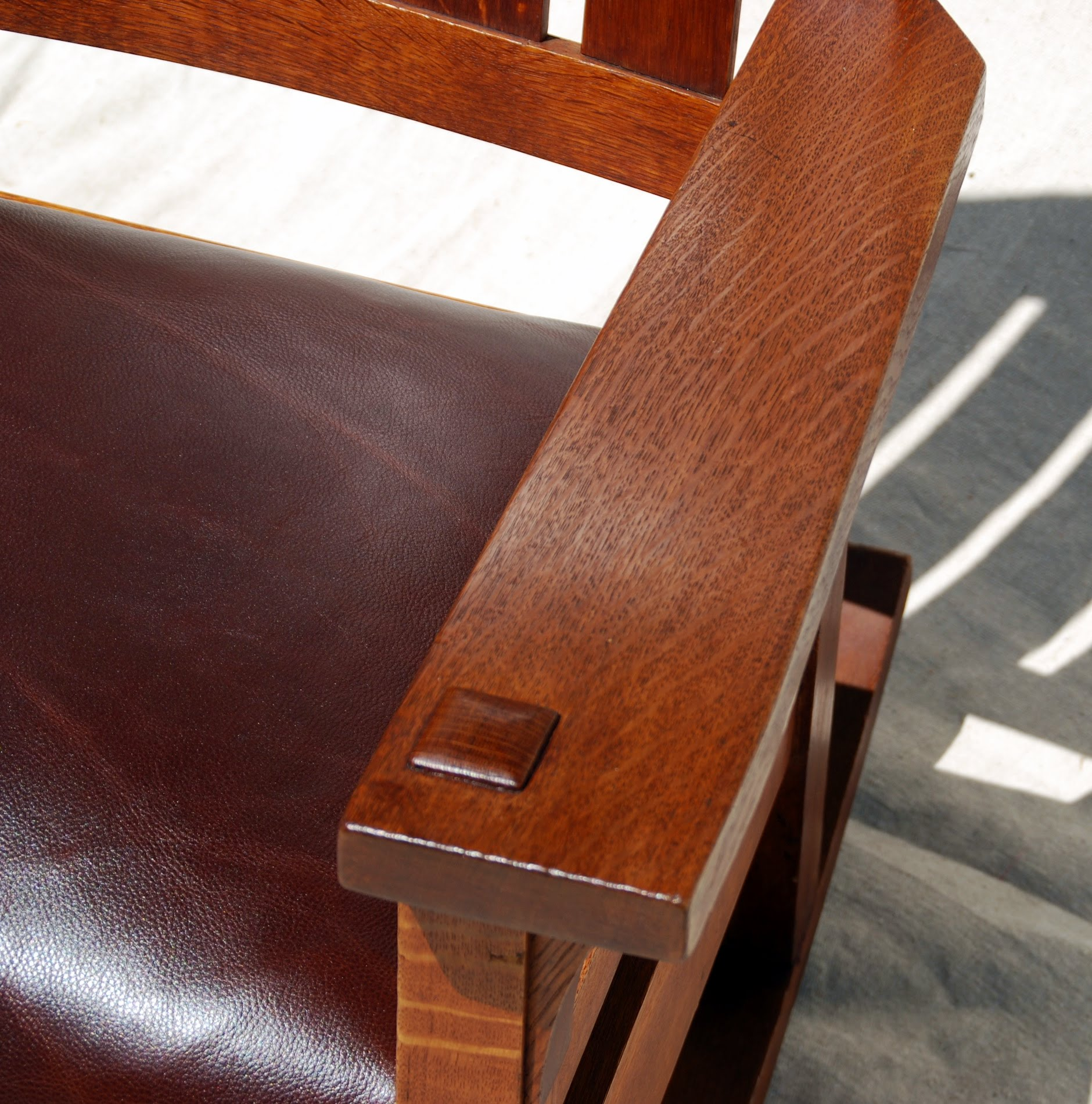 Voorhees Craftsman Mission Oak Furniture Early Gustav Stickley Rocking Chair Original Finish Signed Large Early Red Decal Stickley In Rectangle 1901 To 1903
