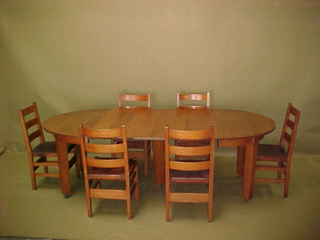 Shown with set of Gustav Stickley dining chairs original to the table. Voorhees Craftsman Mission Oak Furniture   Gustav Stickley 5 leg
