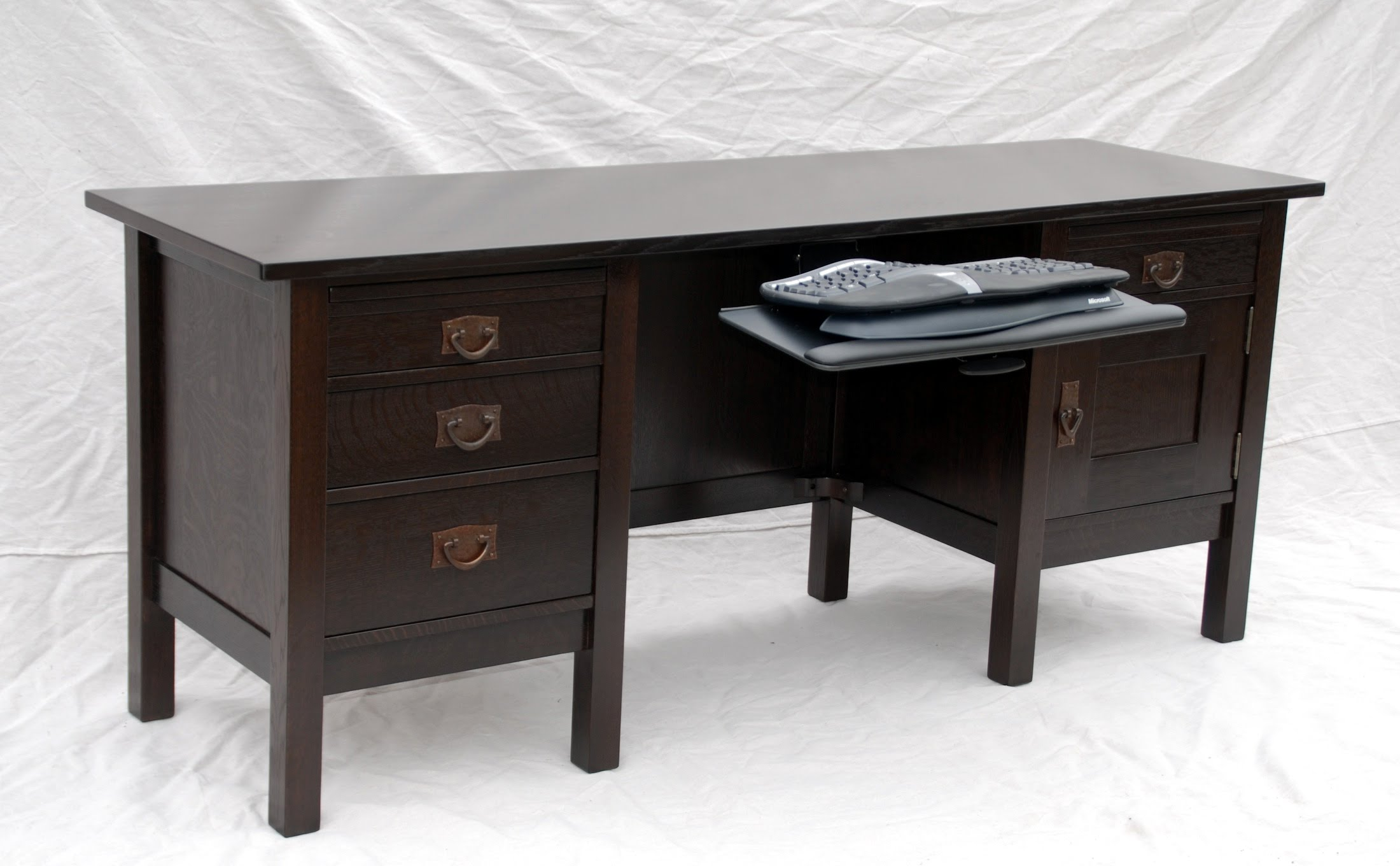 Custom executive desks - Shown With The Tuck Away Keyboard Tray Extended