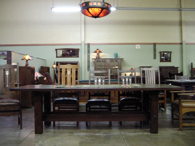 Reproduction Dining Conference Table Shown With Inlaid Gustav Stickley Harvey Ellis Design