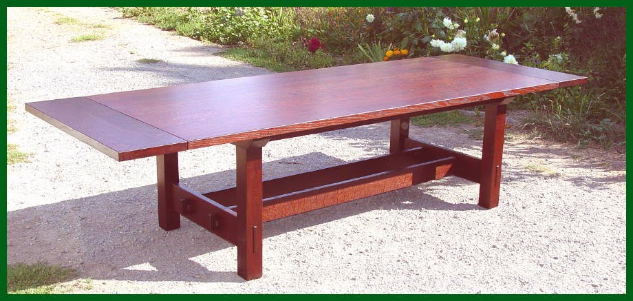 Voorhees Craftsman Mission Oak Furniture Gustav Stickley Inspired - Conference table with leaves
