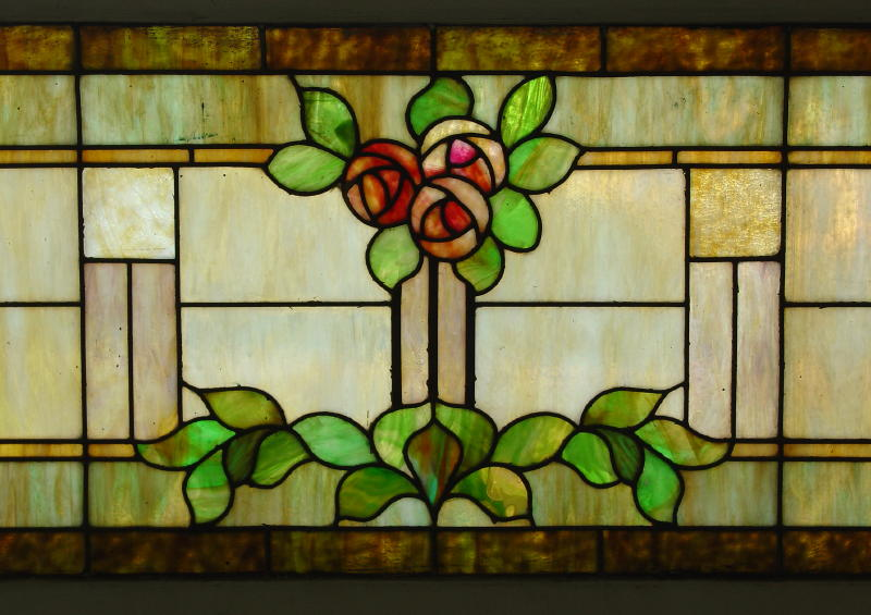 Oak furniture large vintage arts and crafts stained glass window