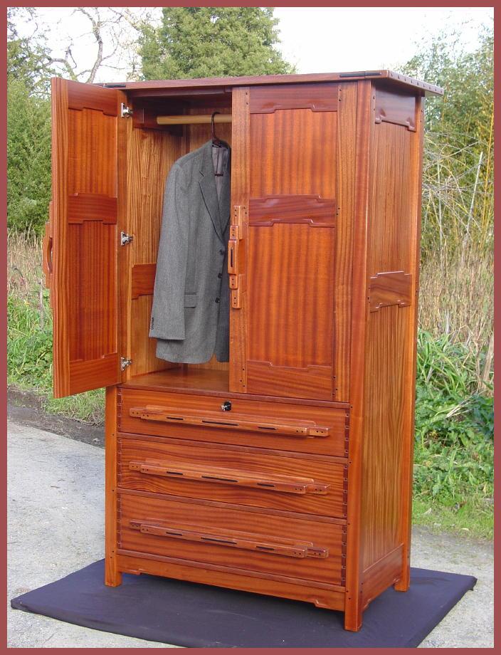 Shown with one door open. Voorhees Craftsman Mission Oak Furniture       ITEM RETIRED