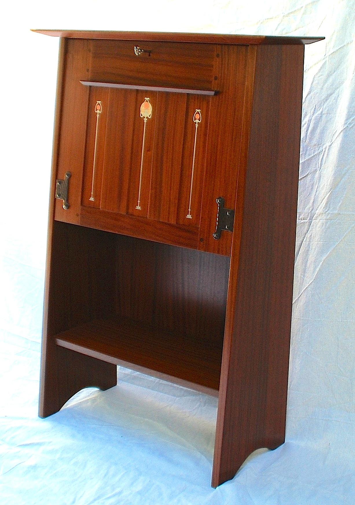 Drop Front Desk >> Voorhees Craftsman Mission Oak Furniture - Mahogany ...
