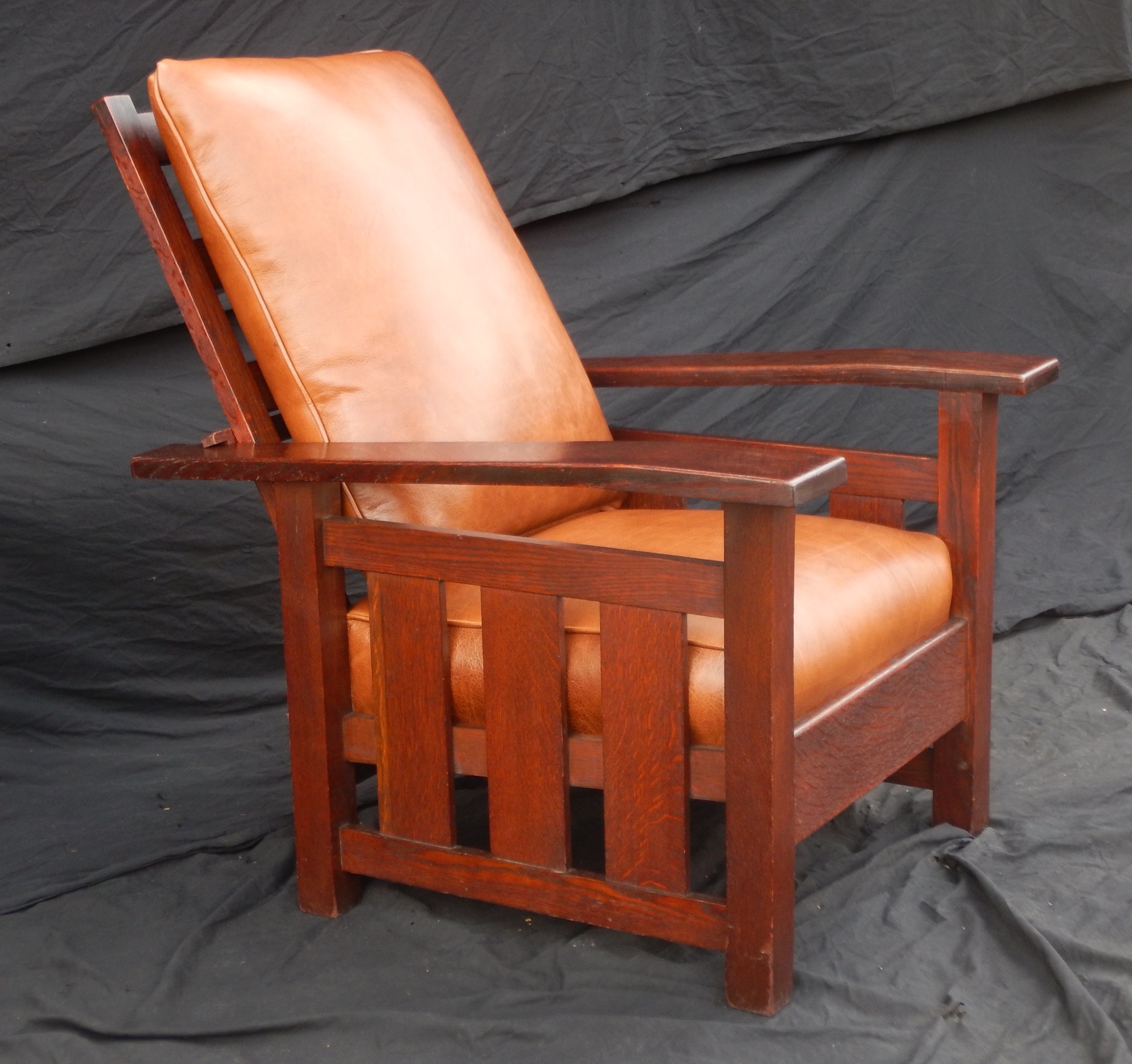 Antique stickley morris chair - Vintage Stickley Era Arts And Crafts Slant Arm Morris Chair With Slats To The Floor