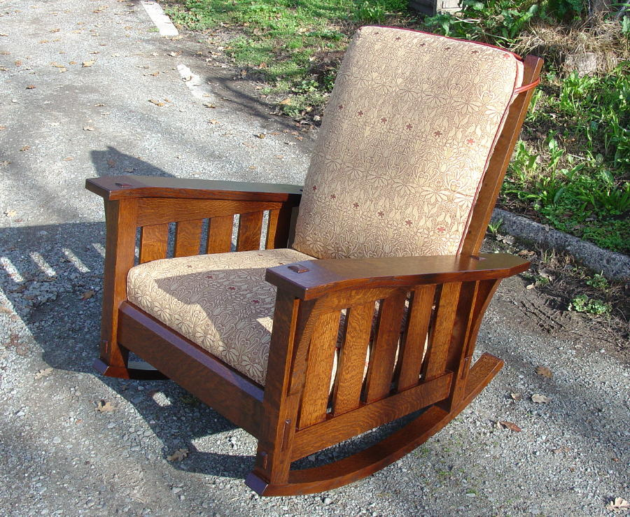 Gustav Stickley Inspired Medium Size Slant Arm Reclining Morris Rocker with Slats and Fabric Cushion & Voorhees Craftsman Mission Oak Furniture - Gustav Stickley ... islam-shia.org