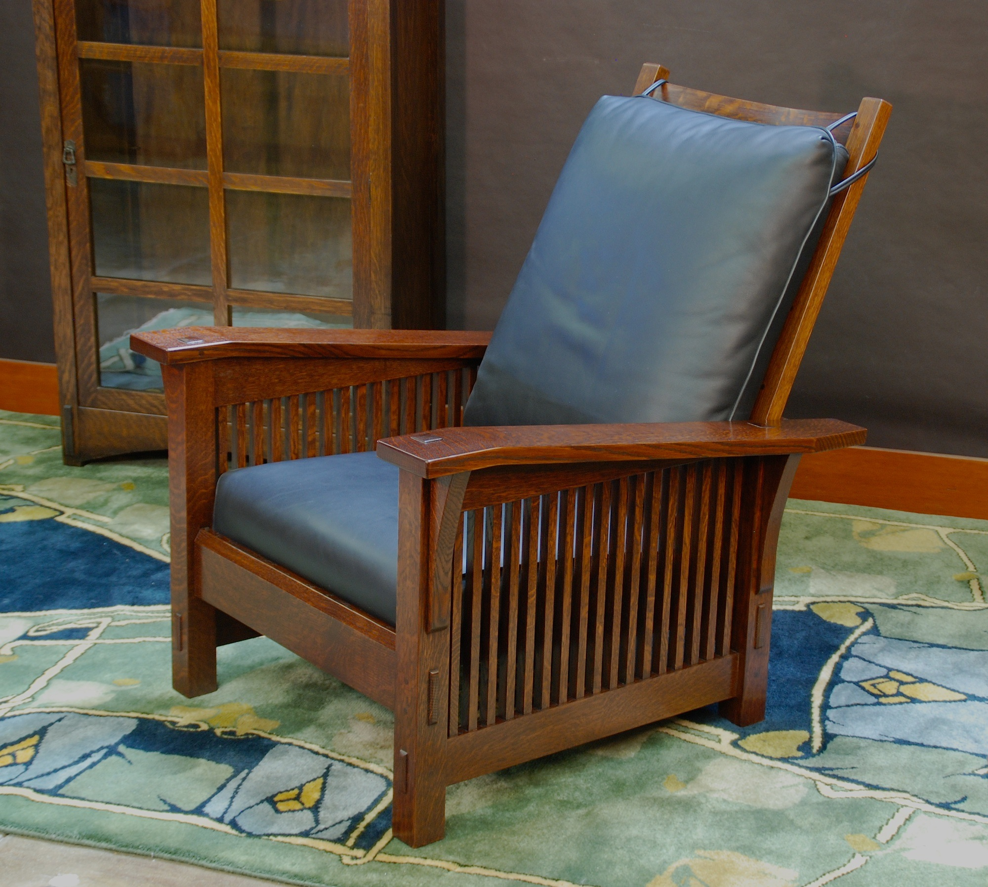 Medium Size Version Gustav Stickley Replica Slant Arm Spindle Reclining Morris Chair & Voorhees Craftsman Mission Oak Furniture - Medium Size Version ... islam-shia.org