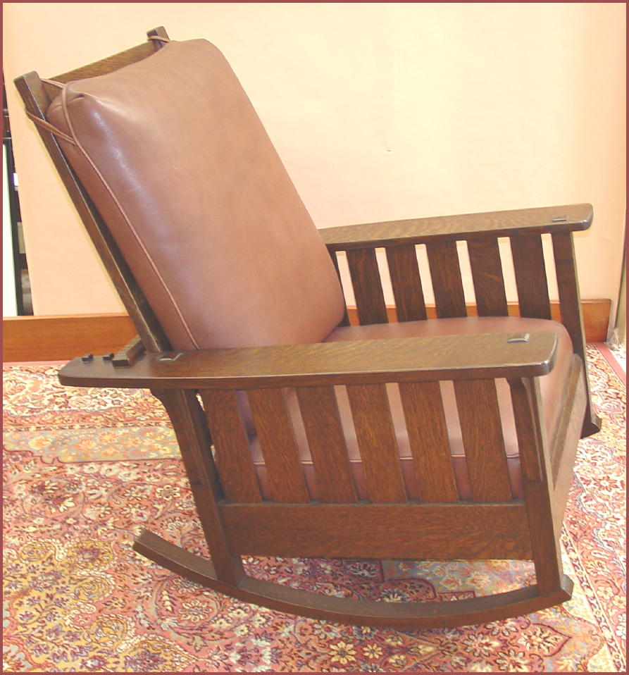 Replica Slatted Reclining Morris Rocker From An Antique L. & J. G. Stickley  Rocker - Voorhees Craftsman Mission Oak Furniture - Replica Slatted Reclining