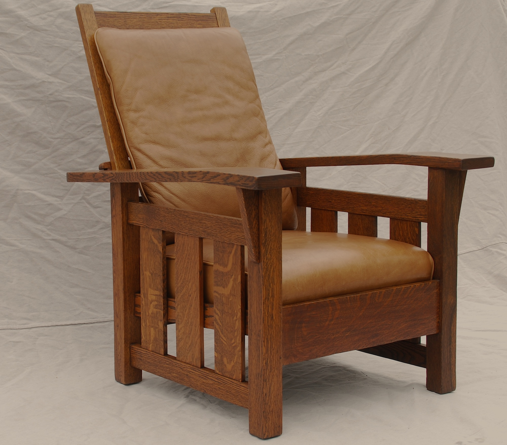 Stickley Era Quaint Art Slant Arm Morris Chair With Leather Cushions.