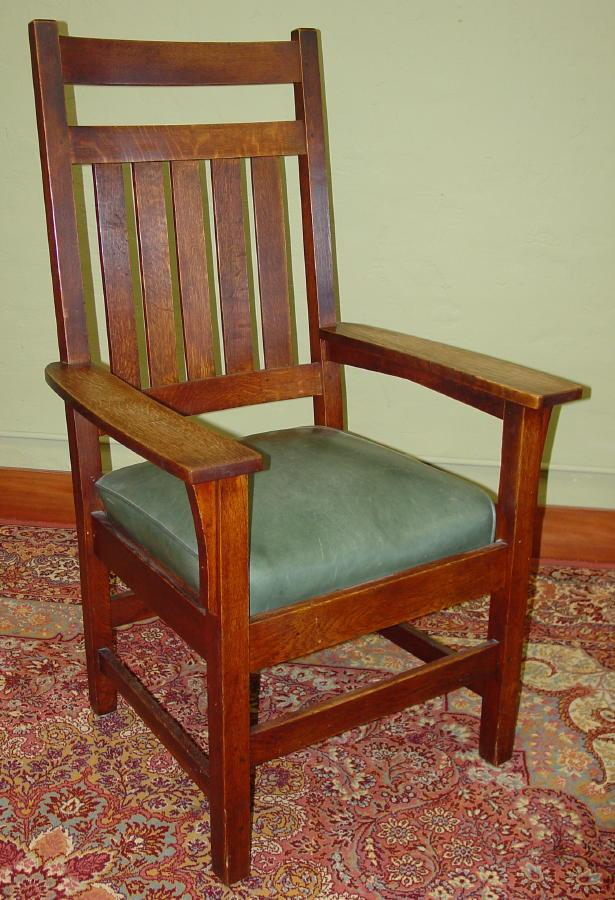 Rare Gustav Stickley Tall Arm Chair With Matching Rocker