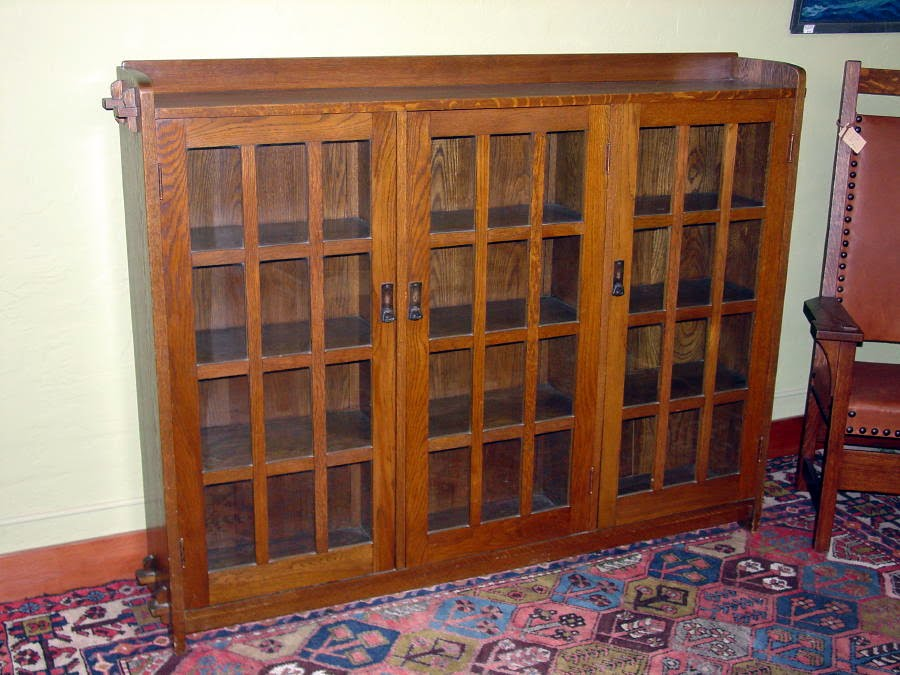 Original Vintage L J G Stickley 3 Door Bookcase