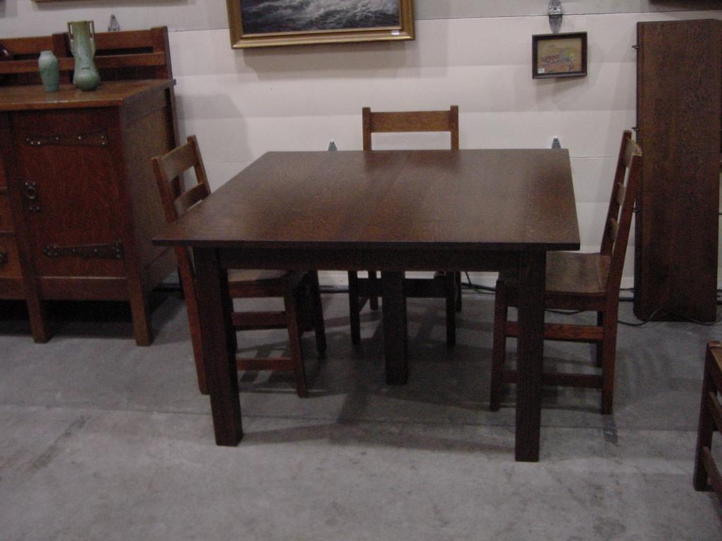 square dining table with leaf. Vintage L. \u0026 J. G. Stickley 5-leg Square Dining Table. Table With Leaf E