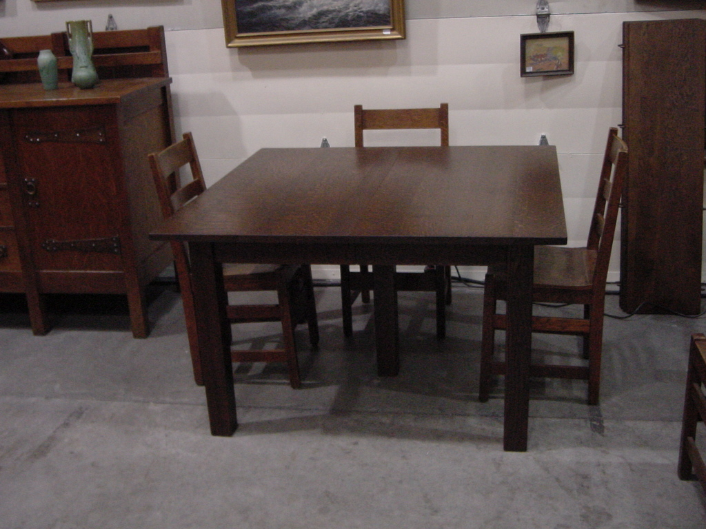 Vintage L. U0026 J. G. Stickley 5 Leg Square Dining Table.