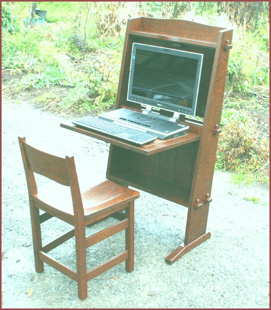 Gustav Stickley Inspired Chalet Drop Front Desk Computer Work Station