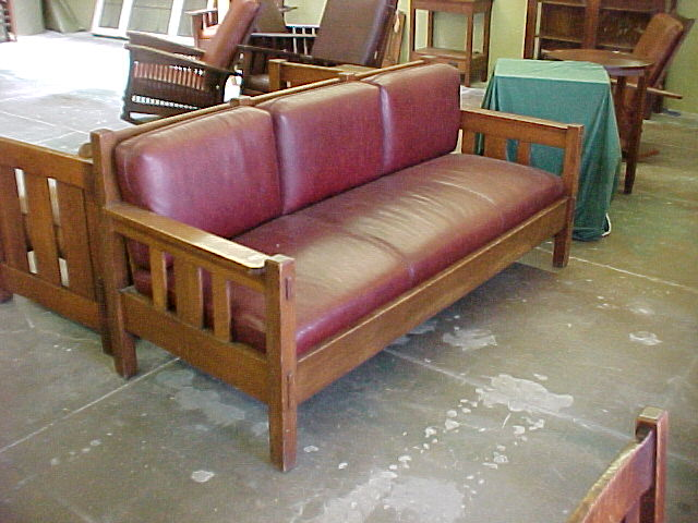 Mission H-Pattern Settle > Mission Style Furniture in Oak & Cherry