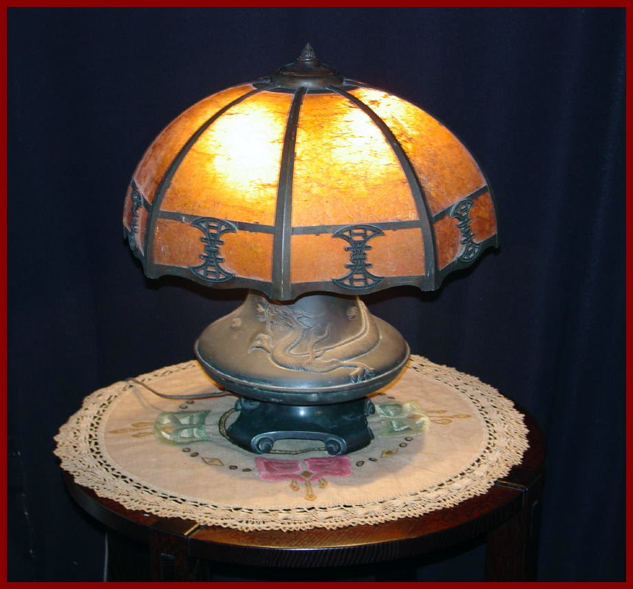Arts and Crafts Vintage Mica Table Lamp with Dragon Base. Lillian Palmer  Style - Voorhees Craftsman Mission Oak Furniture - Arts And Crafts Vintage