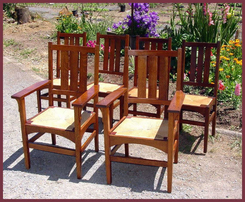 Voorhees Craftsman Mission Oak Furniture - Dining Chairs