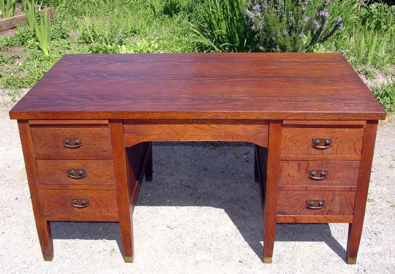 Antique L. & J. G. Stickley Office Desk Model 615 - Voorhees Craftsman Mission Oak Furniture - Antique L. & J. G.
