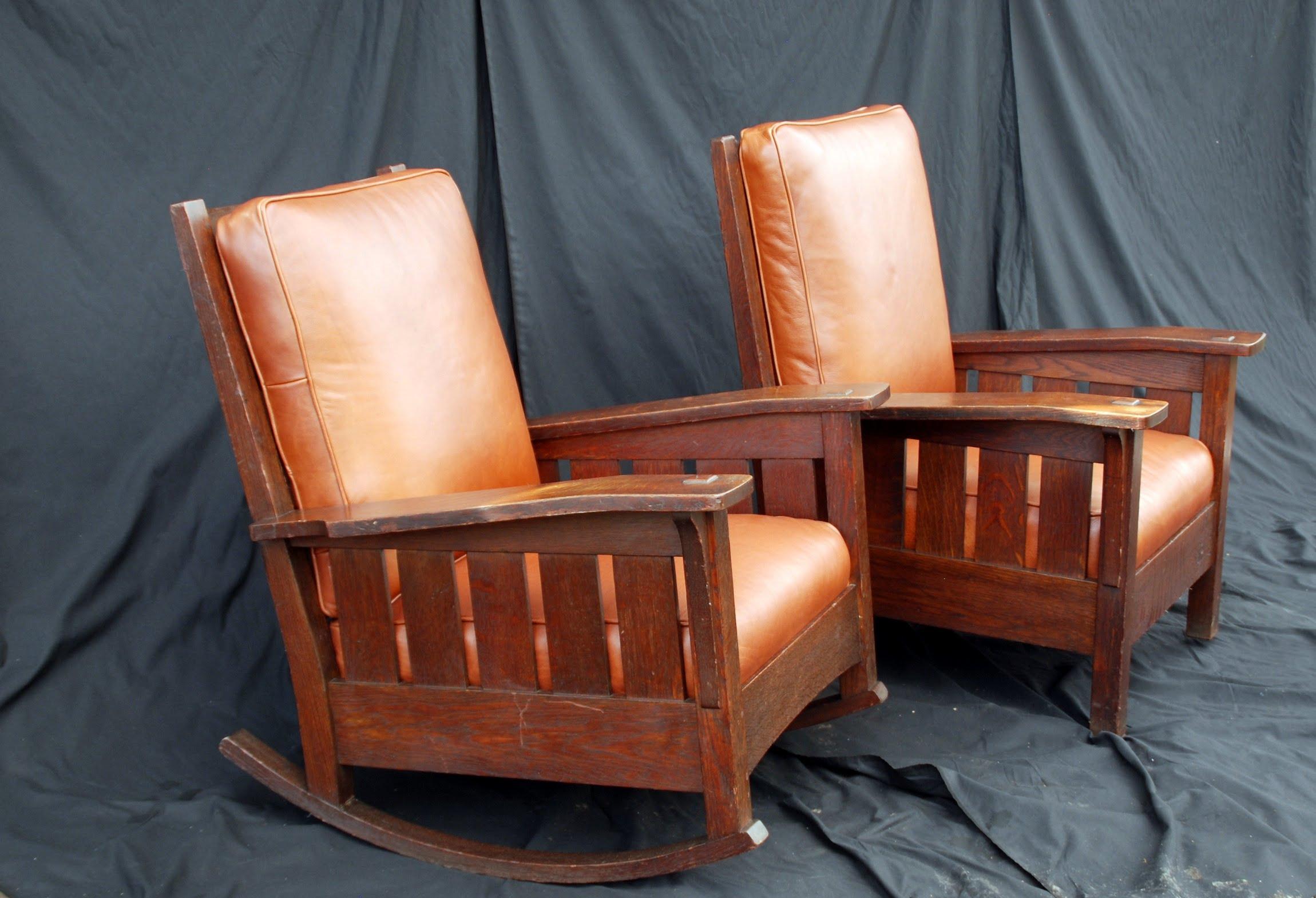 Rare Original L U0026 J G Stickley Slant Arm Rocker And Matching Arm Chair