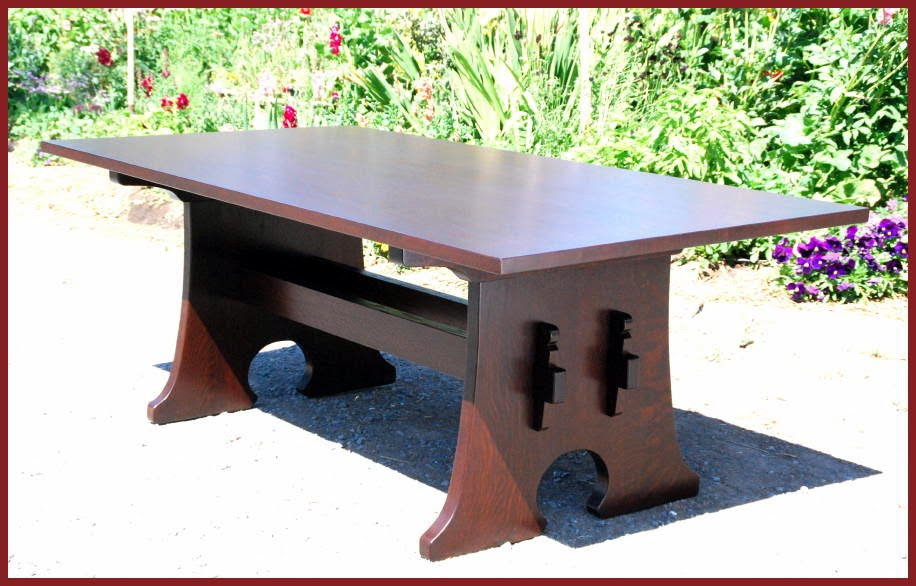 Mousehole Dining Table with Leaves, Inspired from an antique L.& J G  Stickley Table - Voorhees Craftsman Mission Oak Furniture - Mousehole Dining Table