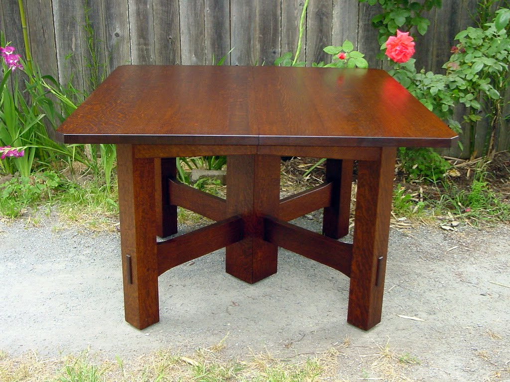 Gustav Stickley Inspired Square Dining Table with Leaves. Voorhees Craftsman Mission Oak Furniture   Gustav Stickley