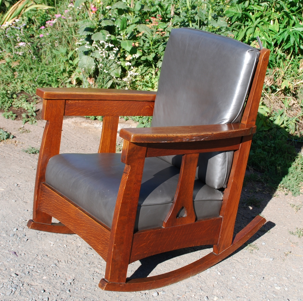 Charles Limbert large rocker with back cushion & heart cut out design ...