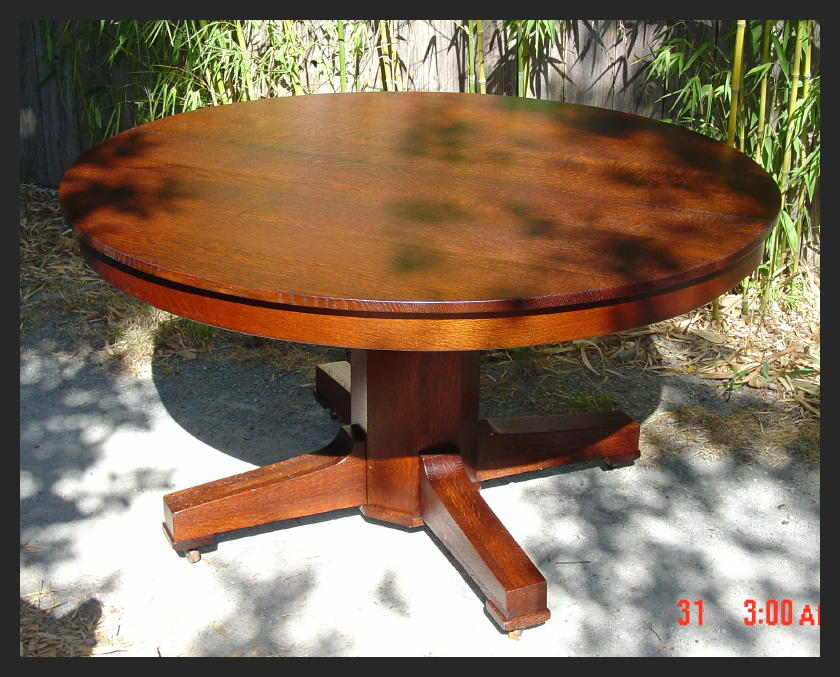 Stickley Style Mission Oak Vintage Dining Table with Three Original Leaves - Voorhees Craftsman Mission Oak Furniture - Stickley Style Mission