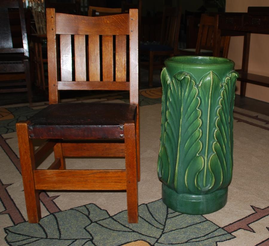 Voorhees Craftsman Mission Oak Furniture Rookwood Faience Matte