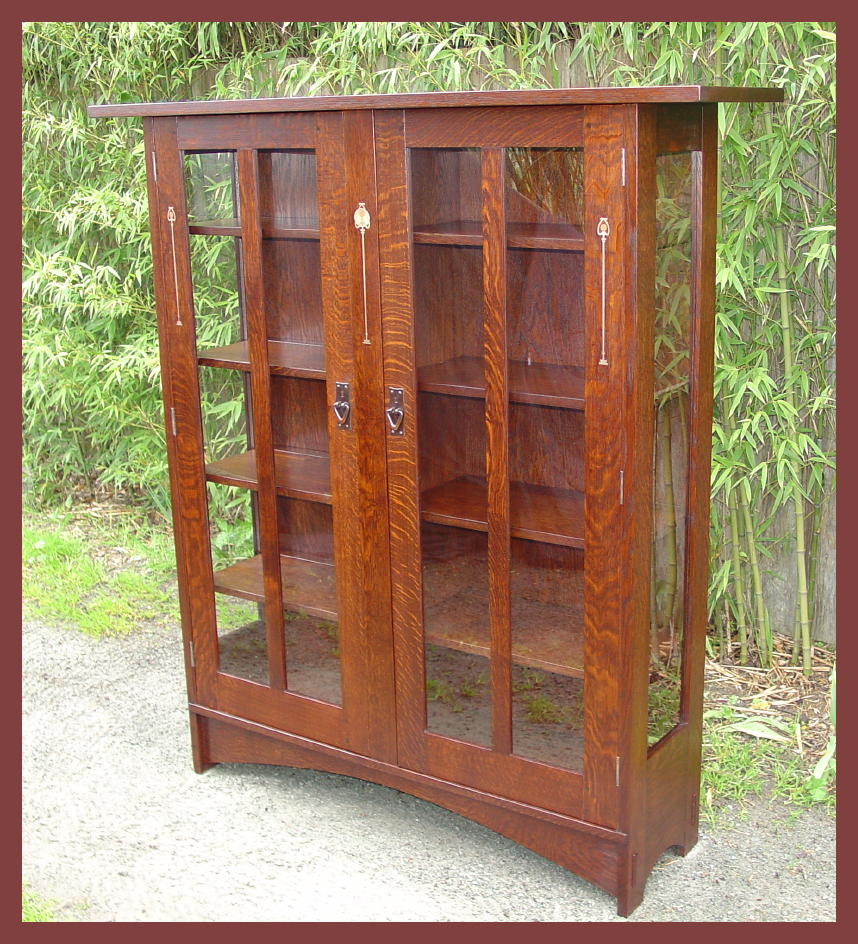 ... Voorhees Craftsman Mission Oak Furniture Two Door Inlaid China Cabinet  Antique ... - Antique Glass Door China Cabinet - Glass Door Ideas