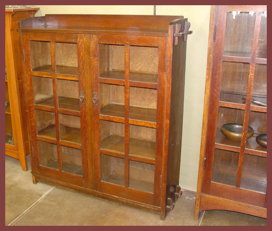 Voorhees Craftsman Mission Oak Furniture - Early Gustav Stickley 2 Door Bookcase with Keyed Tenons
