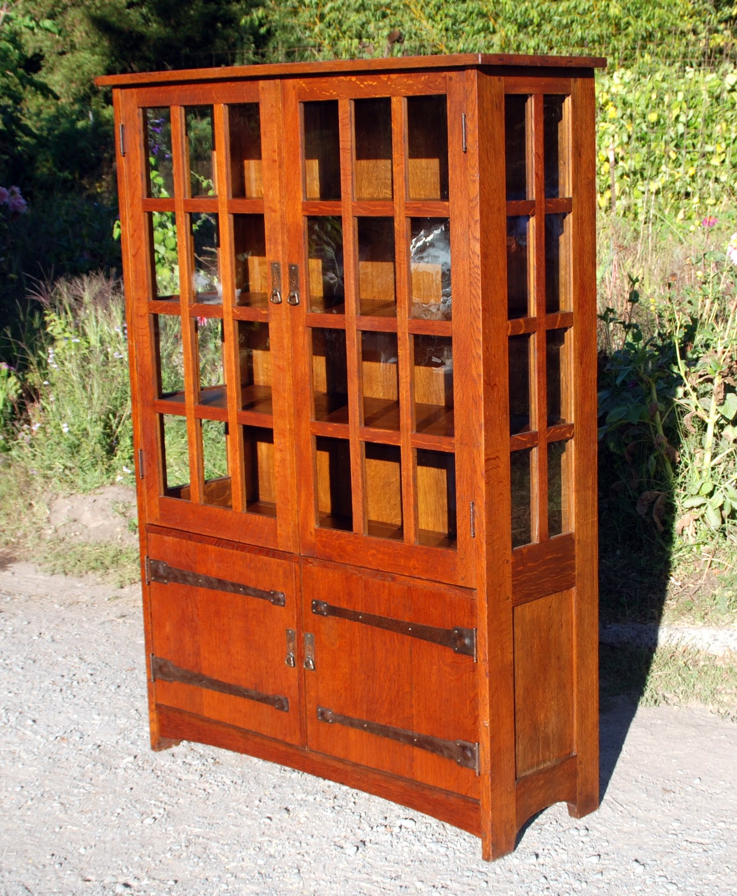 Large L. U0026 J. G. Stickley 4 Door China Cabinet With Strap Hinges On Lower  Doors