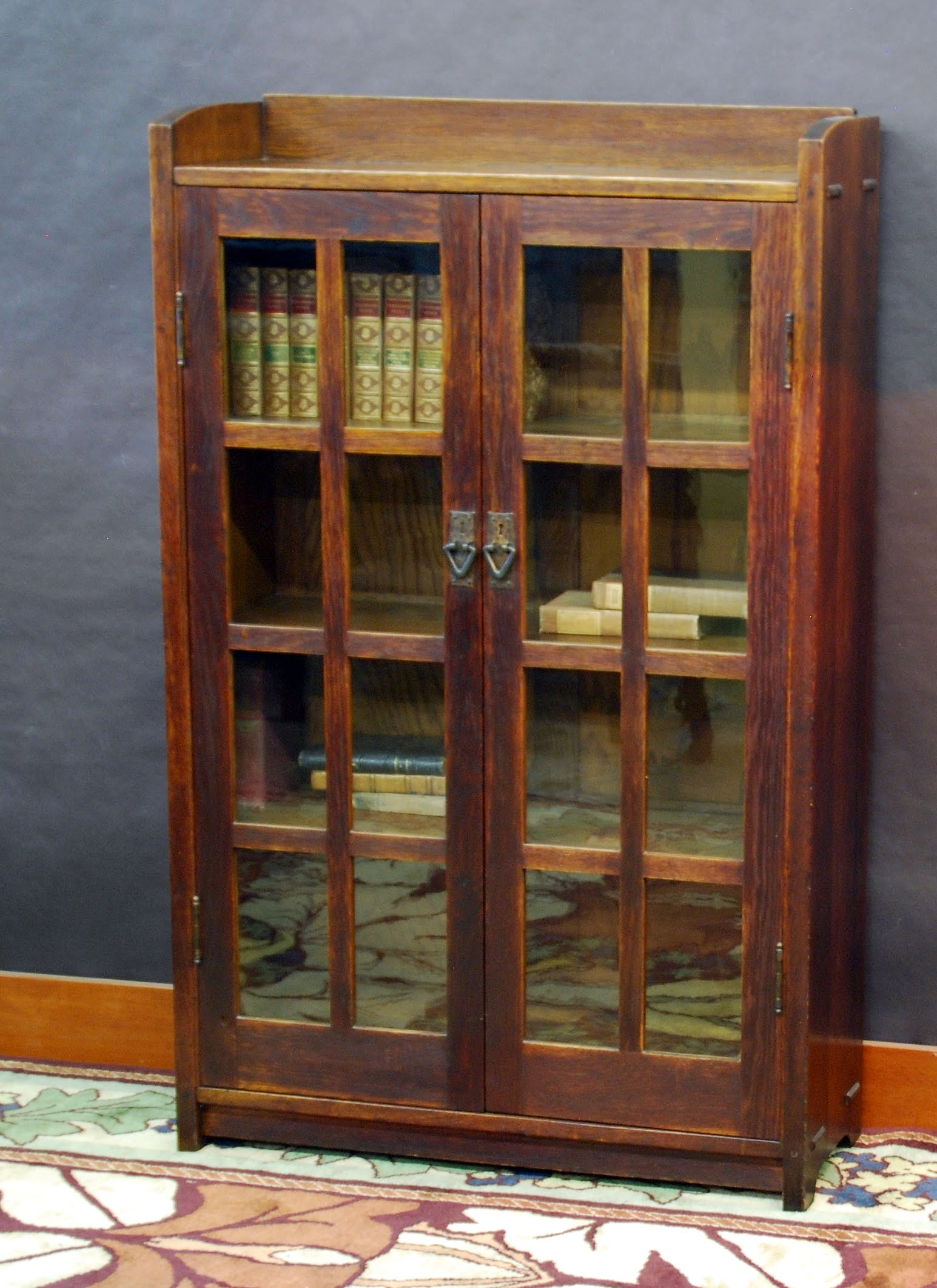 Gustav Stickley 36 In Two Door Bookcase Signed By Brand And Partial Paper Label