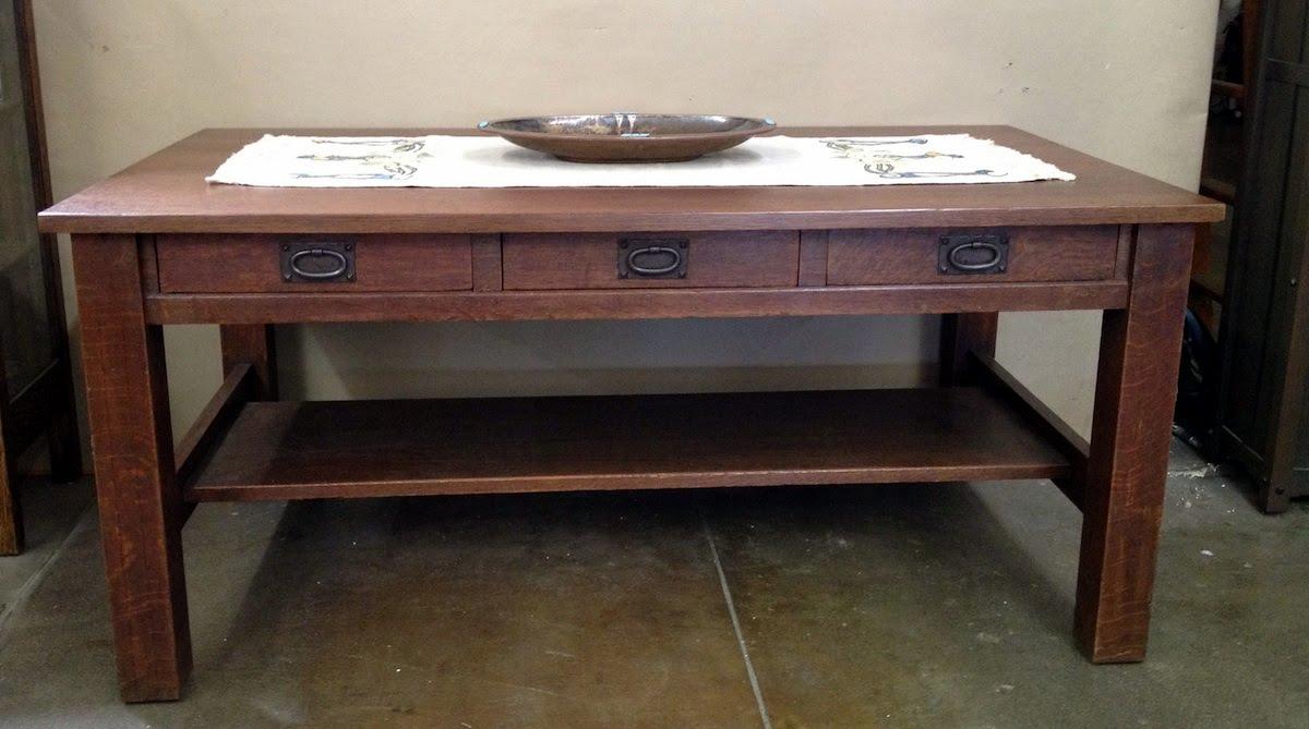 Voorhees craftsman mission oak furniture gustav stickley 3 gustav stickley 3 drawer library table geotapseo Choice Image
