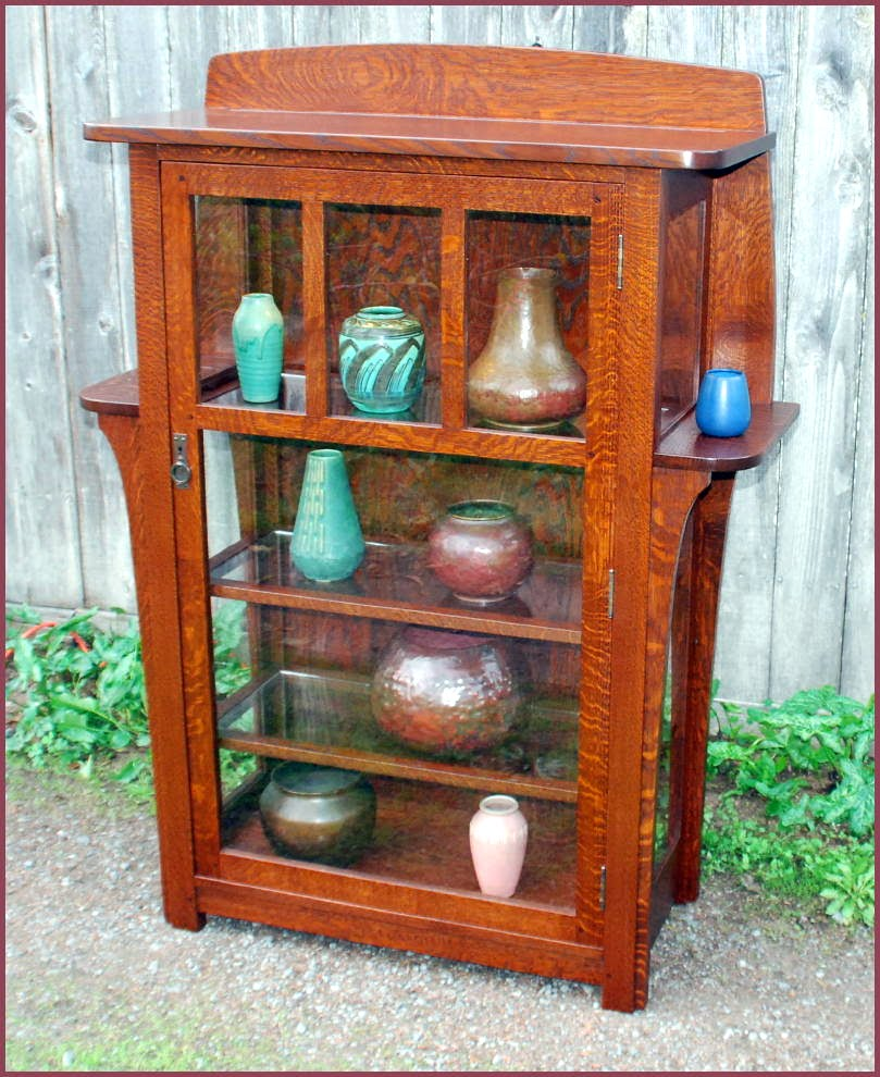 Replica Limbert china cabinet with elongated corbles supporting exterior  shelves. - Voorhees Craftsman Mission Oak Furniture - Replica Limbert China