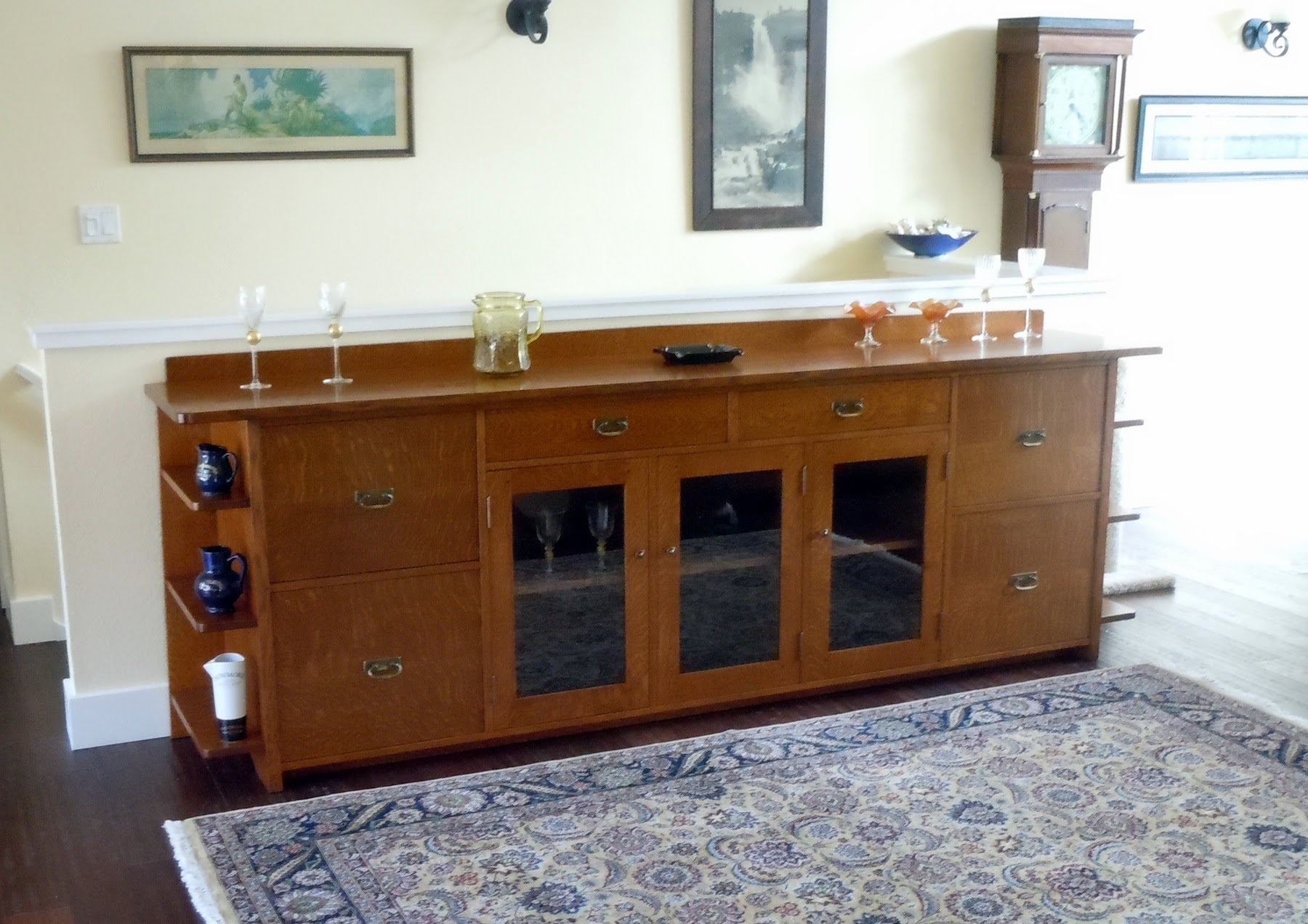 Custom 9 Foot Long Arts Crafts Liquor Cabinet Sideboard