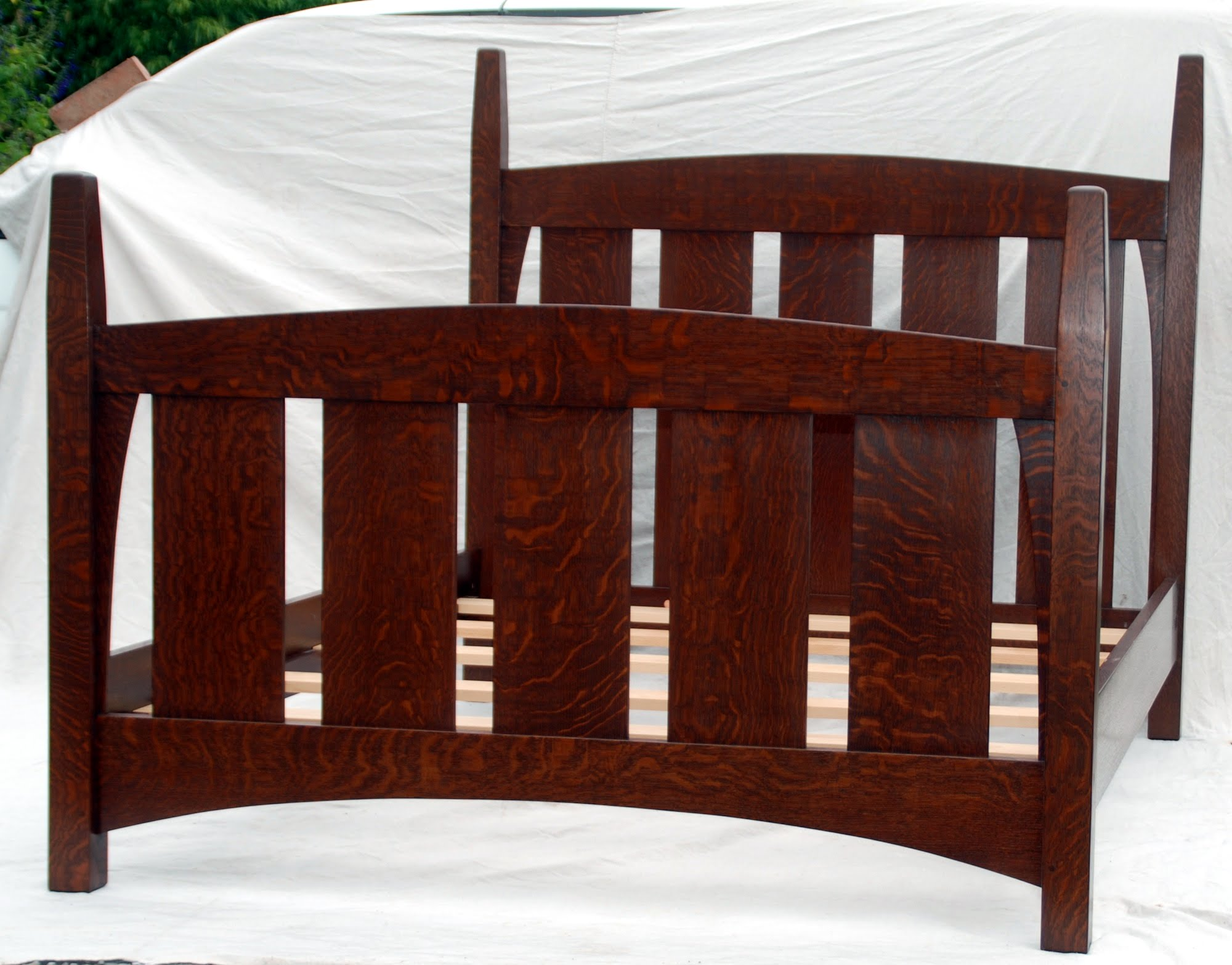 Gustav Stickley Harvey Ellis Inspired Queen Size Bed Without Inlay