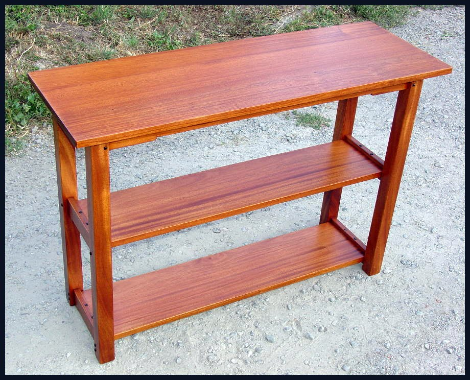 Greene And Inspired Custom Bookshelf Sofa Table Of Solid Mahogany With True Ebony Pegs