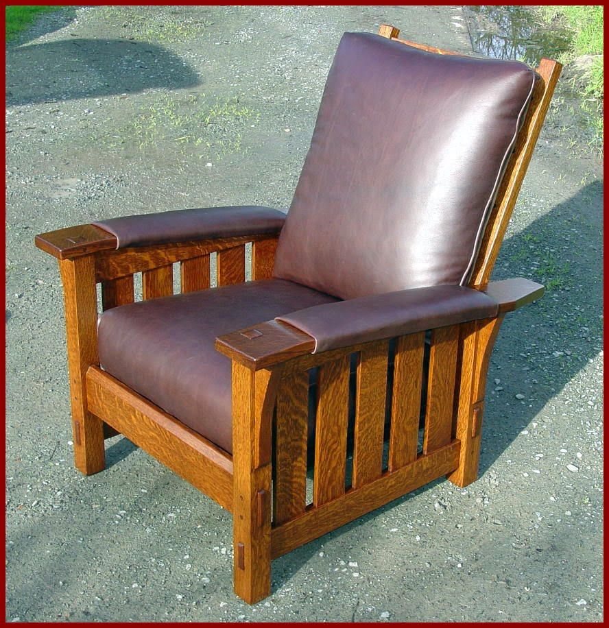 Gustav Stickley Style Medium Sized Custom Morris Chair With Padded Leather  Arms
