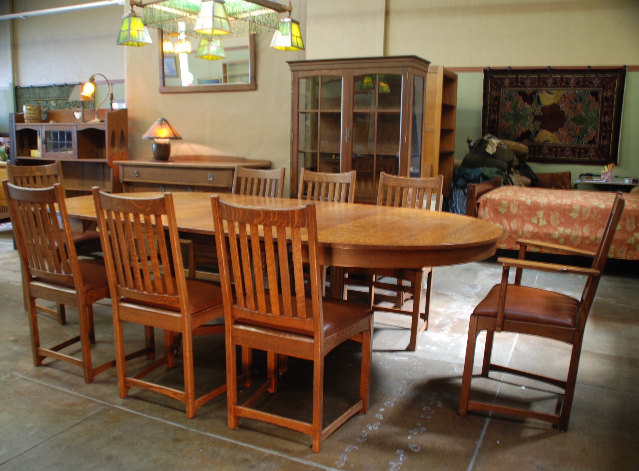 mission craftsman puritan lifetime with bench oak room company set product dining voorhees piece line furniture