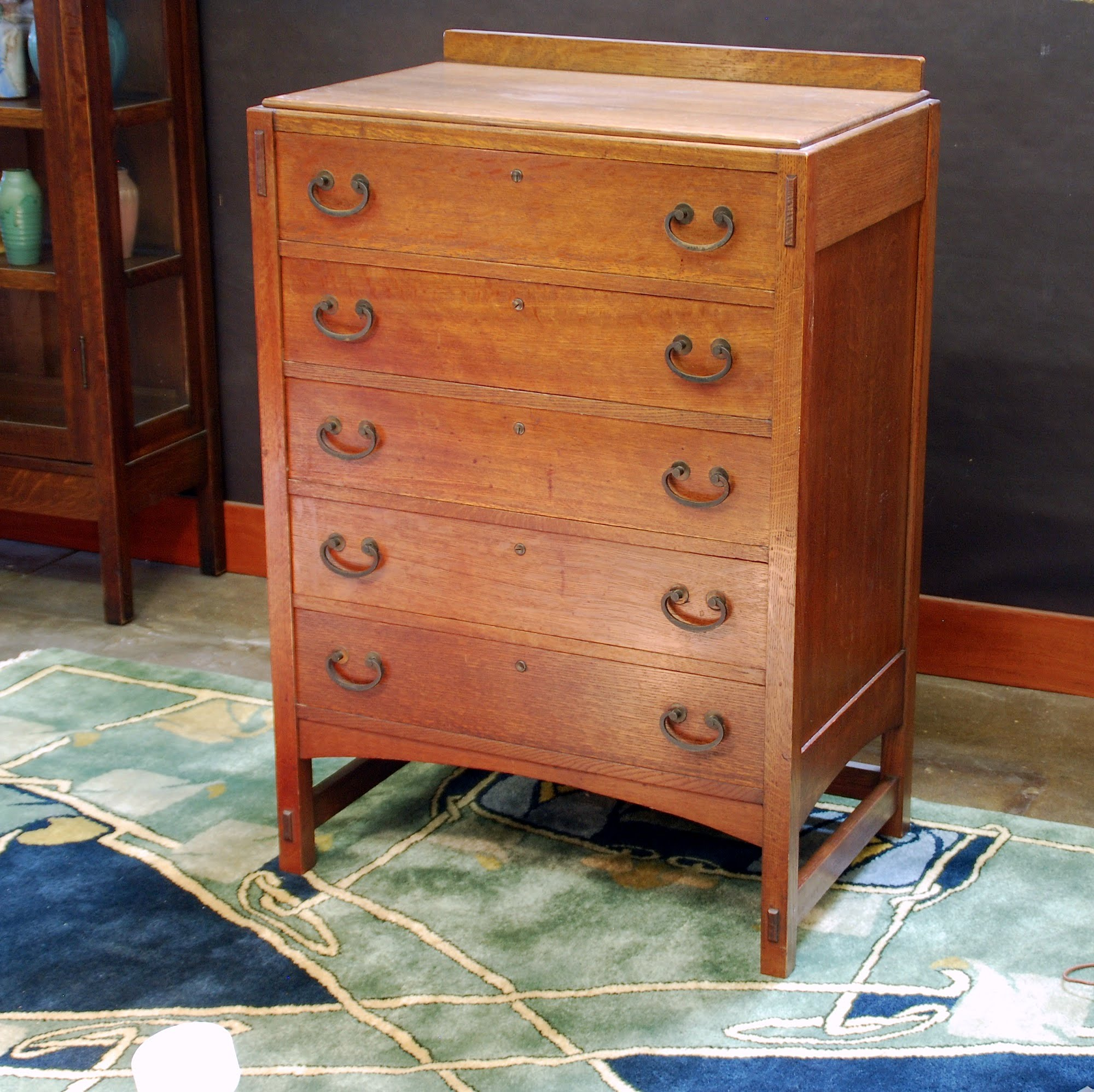 limbert mission oak arts u0026 crafts highboy chest dresser with 5 drawers signed in top