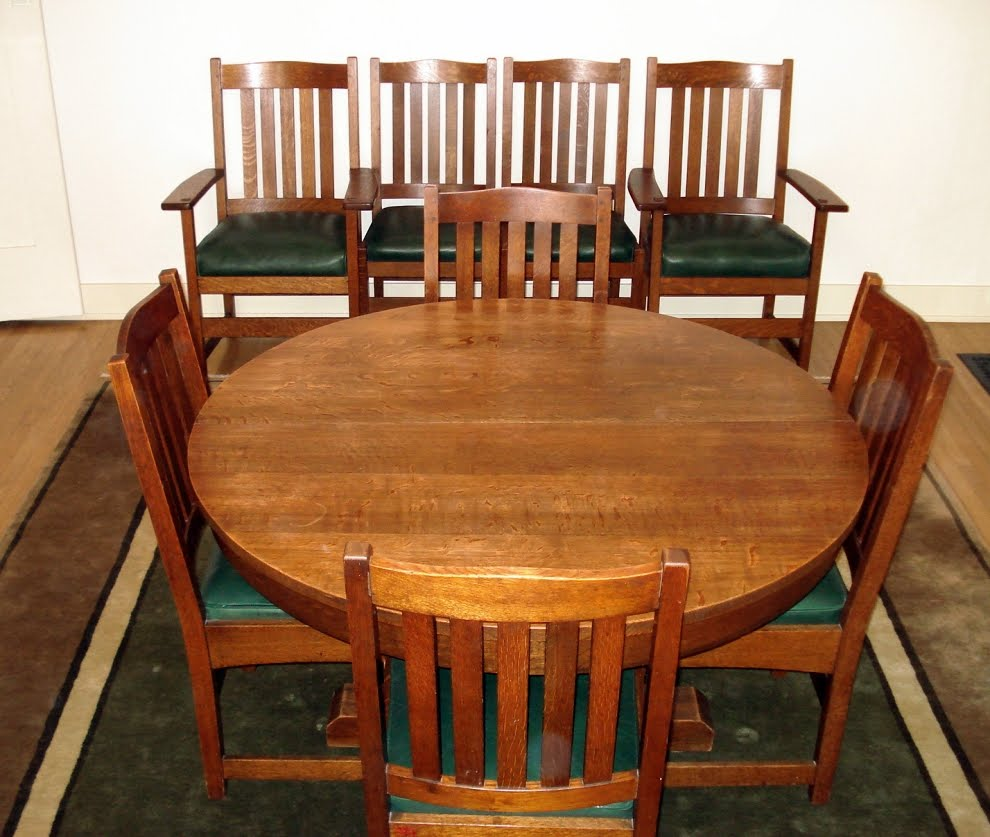 Set Of 8 Vintage L J G Stickley Dining Chairs Including 2 Arm