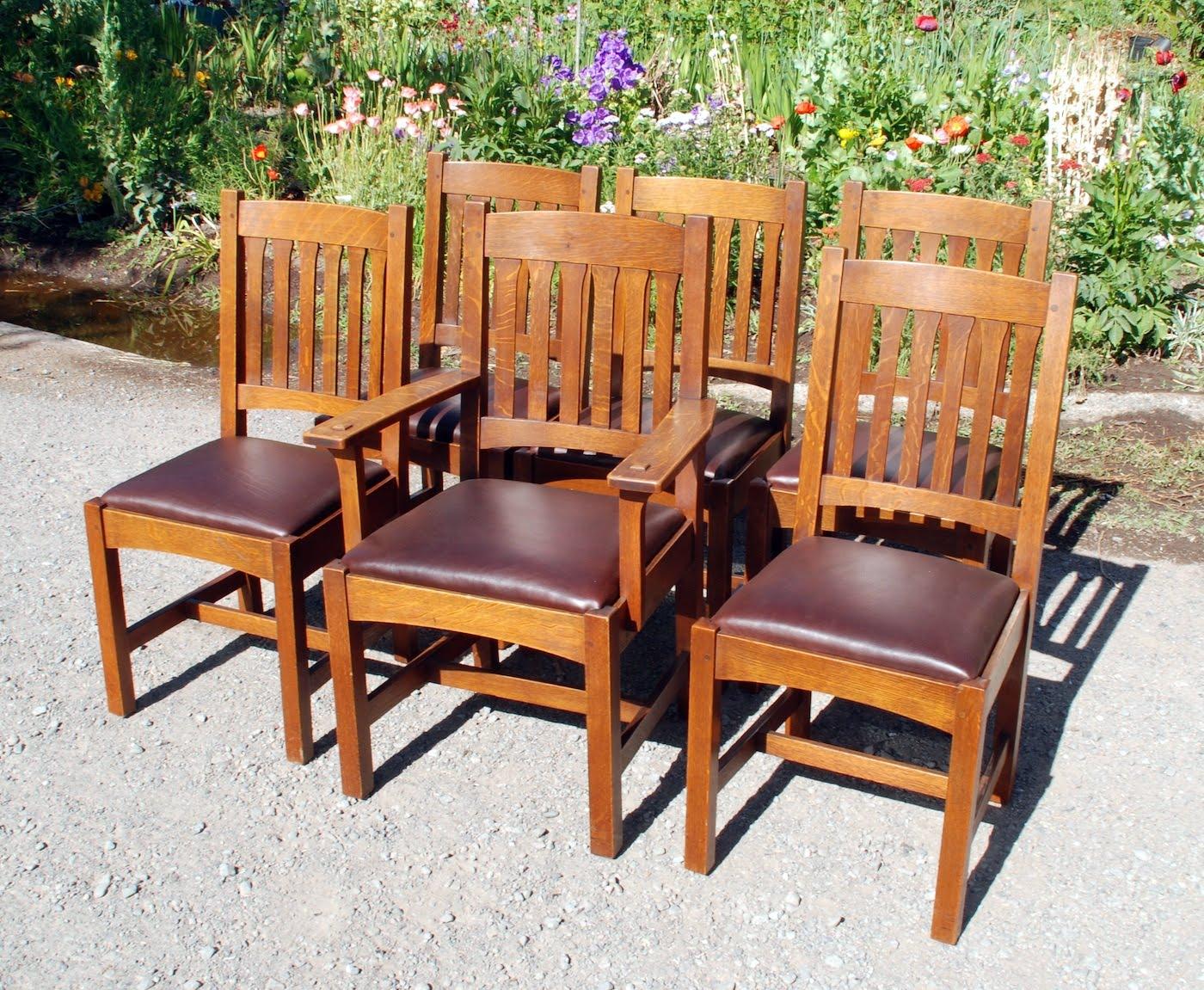 Set of 6 Original L. & J. G. Stickley Dining Chairs in excellent original  finish. - Voorhees Craftsman Mission Oak Furniture - Set Of 6 Original L