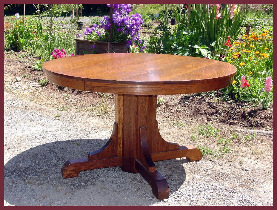 Original Vintage Gustav Stickley Pedestal Oak Dining Table. - Voorhees Craftsman Mission Oak Furniture - Original Vintage Gustav
